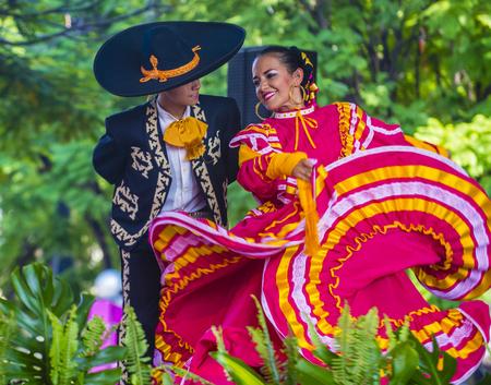 GUADALAJARA , MEXICO - AUG 28 : Dancers Participate at the 23rd International Mariachi & Charros festival in Guadalajara Mexico on August 28 , 2016.