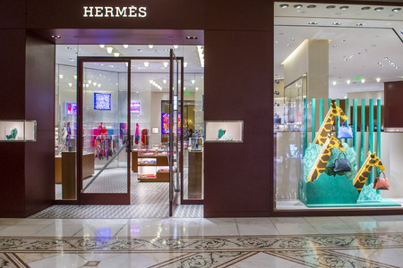 the existing: LAS VEGAS - OCT 05 : Exterior of a Hermes store in Las Vegas strip on Octomber 05 , 2016. Hermes is famous luxury brand existing since 1837.