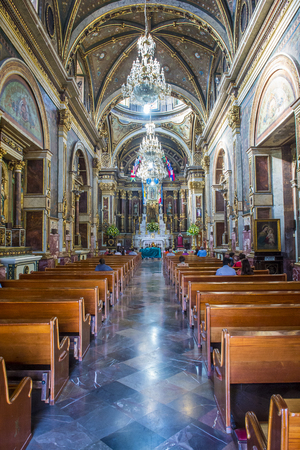 dominican: GUADALAJARA , MEXICO - AUG 29 : The interior of Guadalajara Cathedral in Guadalajara , Mexico. on August 29 2016.  The cathedral was built in 1541