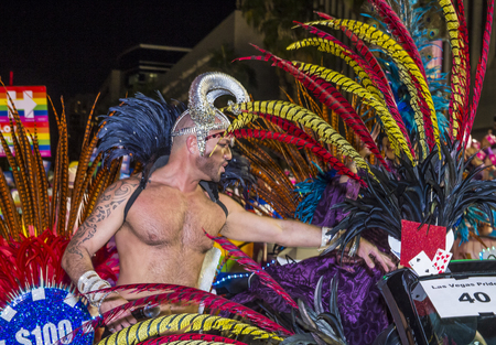 LAS VEGAS - OCT 21 : An unidentified participant at the annual Las Vegas Gay pride night parade on October 21 , 2016 Editorial
