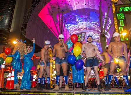 LAS VEGAS - OCT 21 : An unidentified participants at the annual Las Vegas Gay pride night parade on October 21 , 2016