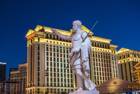 LAS VEGAS - OCT 05 : The Caesars Palace hotel and casino on October 05 , 2016 in Las Vegas. Caesars Palace is a luxury hotel and casino located on the Las Vegas Strip. Caesars has 3,348 rooms in five towers