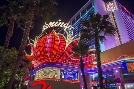 nv: LAS VEGAS - OCT 05 : The Flamingo hotel and casino on October 05 , 2016 in Las Vegas. The hotel opened by Bugsy Segal on 1946 and its the oldest resort on the Strip still in operation