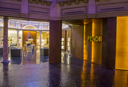 LAS VEGAS - NOV 24 : Exterior of a Fendi store in Caesars Palace hotel in Las Vegas on November 24 2016.  Fendi is a multinational luxury goods brand owned by LVMH Moet Hennessy Louis Vuitton.