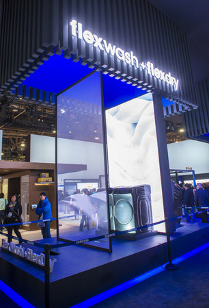 samsung: LAS VEGAS - JAN 08 : The Samsung booth at the CES show held in Las Vegas on January 08 2017 , CES is the worlds leading consumer-electronics show. Editorial