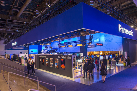 ultra modern: LAS VEGAS - JAN 08 : The Panasonic booth at the CES show in Las Vegas on January 08 2017 , CES is the worlds leading consumer-electronics show. Editorial