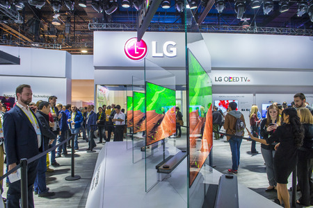 LAS VEGAS - JAN 08 : The LG booth at the CES show held in Las Vegas on January 08 2017 , CES is the world's leading consumer-electronics show. Editorial