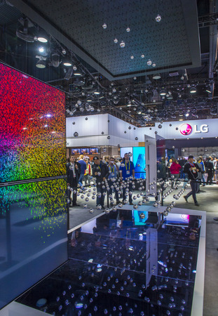 ultra modern: LAS VEGAS - JAN 08 : The LG booth at the CES show held in Las Vegas on January 08 2017 , CES is the worlds leading consumer-electronics show.