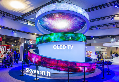 ultra modern: LAS VEGAS - JAN 08 : The Skyworth booth at the CES show held in Las Vegas on January 08 2017 , CES is the worlds leading consumer-electronics show.