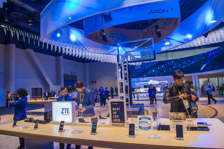 LAS VEGAS - JAN 08 : The ZTE booth at the CES show held in Las Vegas on January 08 2017 , CES is the world's leading consumer-electronics show.
