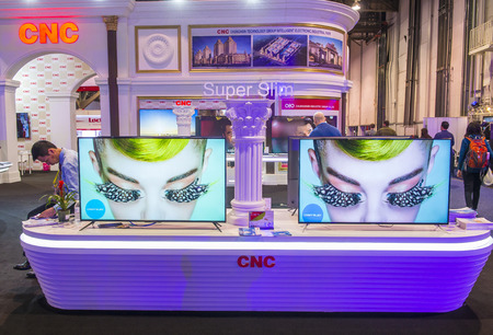 ultra modern: LAS VEGAS - JAN 08 : The CNC booth at the CES show held in Las Vegas on January 08 2017 , CES is the worlds leading consumer-electronics show.