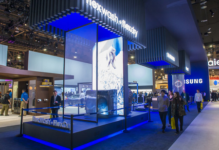 ultra modern: LAS VEGAS - JAN 08 : The Samsung booth at the CES show held in Las Vegas on January 08 2017 , CES is the worlds leading consumer-electronics show. Editorial