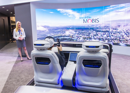 autoshow: LAS VEGAS - JAN 08 : The Hyundai Mobis Concept car simulator at the CES Show in Las Vegas, Navada, on January 08, 2017. CES is the worlds leading consumer-electronics show. Editorial
