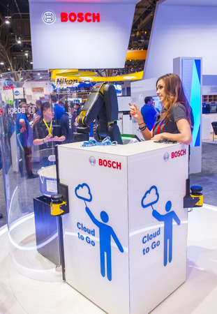 ultra modern: LAS VEGAS - JAN 08 : The Bosch booth at the CES show in Las Vegas on January 08 2017 , CES is the worlds leading consumer-electronics show.