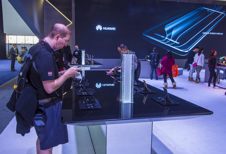 ultra modern: LAS VEGAS - JAN 08 : The Huawei booth at the CES show held in Las Vegas on January 08 2017 , CES is the worlds leading consumer-electronics show.