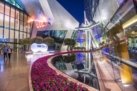 LAS VEGAS - NOV 24 : The Aria hotel in Las Vegas on November 24 2016. The Aria is a luxury resort and casino opened on 2009 and is the worlds largest hotel to receive LEED Gold certification