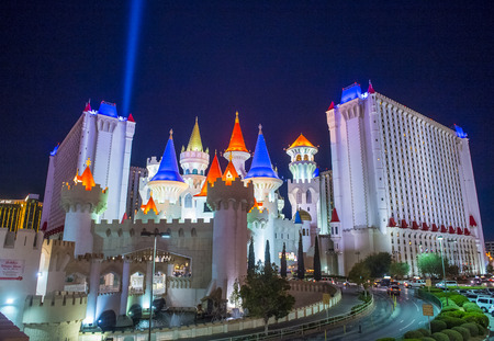 LAS VEGAS - NOV 24 : The Excalibur Hotel and Casino in Las Vegas on November 24 2016 , The Hotel was named after King Arthurs sword and opened in 1990