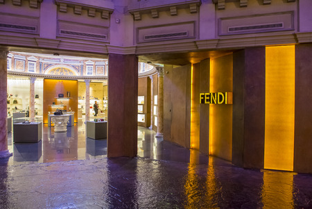 lvmh: LAS VEGAS - NOV 24 : Exterior of a Fendi store in Caesars Palace hotel in Las Vegas on November 24 2016.  Fendi is a multinational luxury goods brand owned by LVMH Moet Hennessy Louis Vuitton.
