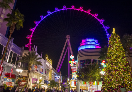 LAS VEGAS - NOV 24 : The Linq, a dining and shopping district and High Roller at the center of the Las Vegas Strip on November 24 2016 , The High Roller is the worlds largest observation wheel Editorial
