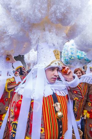 shrove: BINCHE , BELGIUM - FEB 26 : Participant in the Binche Carnival in Binche, Belgium on February 26 2017. The Binche carnival is included in a list of intangible heritage by UNESCO.