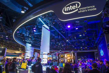 LAS VEGAS - JAN 08 : The Intel booth at the CES show in Las Vegas on January 08 2017 , CES is the world's leading consumer-electronics show.