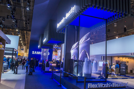 LAS VEGAS - JAN 08 : The Samsung booth at the CES show held in Las Vegas on January 08 2017 , CES is the worlds leading consumer-electronics show. Editorial