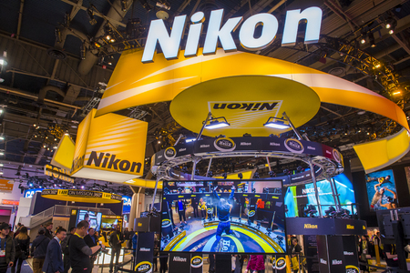 LAS VEGAS - JAN 08 : The Nikon booth at the CES show in Las Vegas on January 08 2017 , CES is the world's leading consumer-electronics show. Editorial