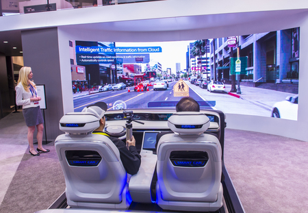 LAS VEGAS - JAN 08 : The Hyundai Mobis Concept car simulator at the CES Show in Las Vegas, Navada, on January 08, 2017. CES is the world's leading consumer-electronics show. Editorial