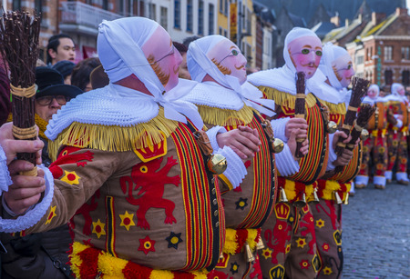 shrove: BINCHE , BELGIUM - FEB 26 : Participants in the Binche Carnival in Binche, Belgium on February 26 2017. The Binche carnival is included in a list of intangible heritage by UNESCO.
