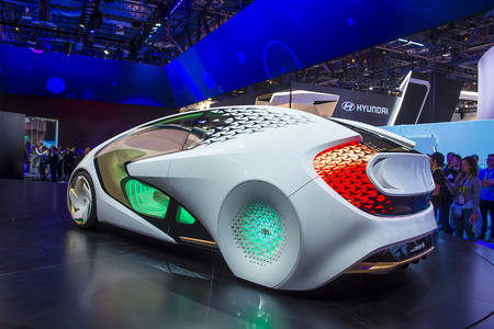 LAS VEGAS - JAN 08 : Toyota Concept car at the CES Show in Las Vegas, Navada, on January 08, 2016. CES is the worlds leading consumer-electronics show.
