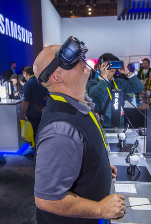 LAS VEGAS - JAN 08 : Virtual reality demonstration at The Samsung booth at the CES show held in Las Vegas on January 08 2017 , CES is the world's leading consumer-electronics show.