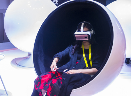 LAS VEGAS - JAN 08 : Virtual reality demonstration at The Huawei booth at the CES show in Las Vegas on January 08 2017 , CES is the world's leading consumer-electronics show.