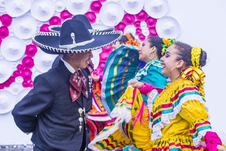 traje mexicano: GUADALAJARA , MEXICO - AUG 28 : Dancers Participate at the 23rd International Mariachi & Charros festival in Guadalajara Mexico on August 28 , 2016.