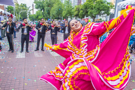 traje mexicano: GUADALAJARA , MEXICO - AUG 28 : Participants in a parde during the 23rd International Mariachi & Charros festival in Guadalajara Mexico on August 28 , 2016.