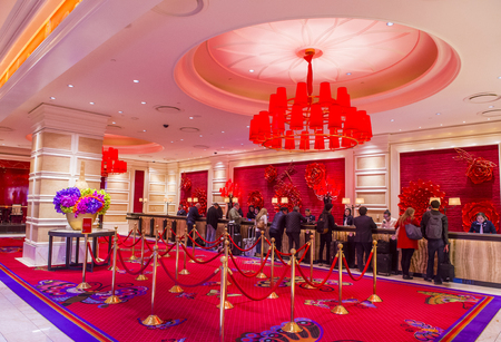 nv: LAS VEGAS - JAN 08 : The interior of Encore Hotel and casino in Las Vegas on January 08 2017. The hotel has 2,716 rooms and opened in 2005. Editorial