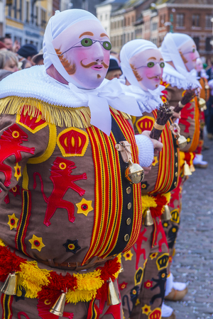 shrove: BINCHE , BELGIUM - FEB 26 : Participants in the Binche Carnival in Binche, Belgium on February 26 2017. The Binche carnival is included in a list of intangible heritage
