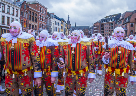 BINCHE , BELGIUM - FEB 26 : Participants in the Binche Carnival in Binche, Belgium on February 26 2017. The Binche carnival is included in a list of intangible heritage