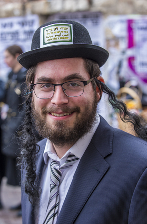 hasidic: JERUSALEM - MARCH 13 : Ultra Orthodox man during Purim in Mea Shearim Jerusalem on March 13 2017 , Purim is a Jewish holiday celebrates the salvation of the jews from genocide in ancient Persia