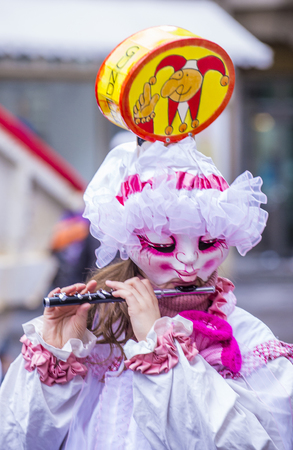 BASEL , SWITZERLAND - MARCH 08 : Participant in the Basel Carnival in Basel , Switzerland on March 08 2017. The Basel carnival has been listed as one of the top local festivities in Europe Éditoriale