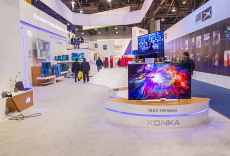 LAS VEGAS - JAN 08 : The Konka booth at the CES show held in Las Vegas on January 08 2017 , CES is the world's leading consumer-electronics show.
