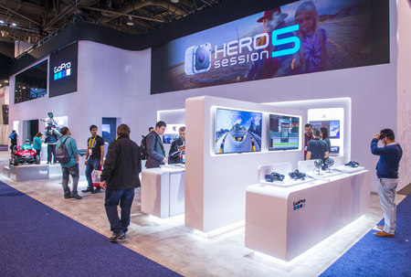 ultra modern: LAS VEGAS - JAN 08 : The GoPro booth at the CES show held in Las Vegas on January 08 2016 , CES is the worlds leading consumer-electronics show.