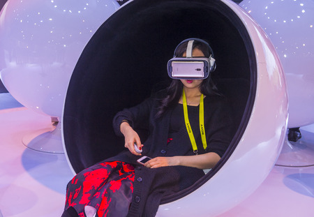 ultra modern: LAS VEGAS - JAN 08 : Virtual reality demonstration at The Huawei booth at the CES show in Las Vegas on January 08 2017 , CES is the worlds leading consumer-electronics show. Editorial