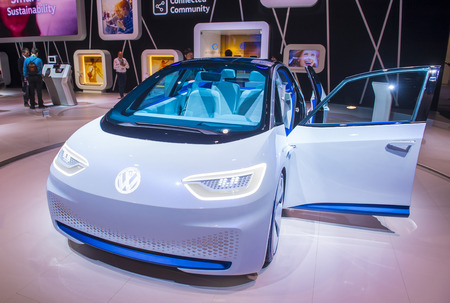 LAS VEGAS - JAN 08 : The Volkswagen booth at the CES Show in Las Vegas, Navada, on January 08, 2017. CES is the world's leading consumer-electronics show. Editorial