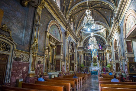 GUADALAJARA , MEXICO - AUG 29 : The interior of Guadalajara Cathedral in Guadalajara , Mexico. on August 29 2016.  The cathedral was built in 1541
