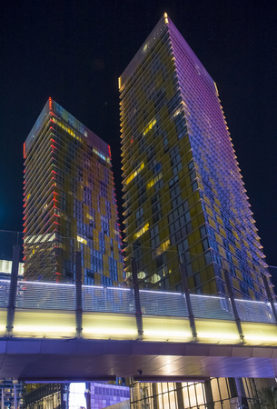 LAS VEGAS - NOV 24 : The tilted Veer Towers in Las Vegas on November 24 2016. Veer Towers are twin 37-story, 480-foot , residential towers located within CityCenter on the Las Vegas Strip Editorial