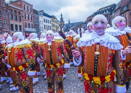 26: BINCHE , BELGIUM - FEB 26 : Participants in the Binche Carnival in Binche, Belgium on February 26 2017. The Binche carnival is included in a list of intangible heritage by UNESCO.
