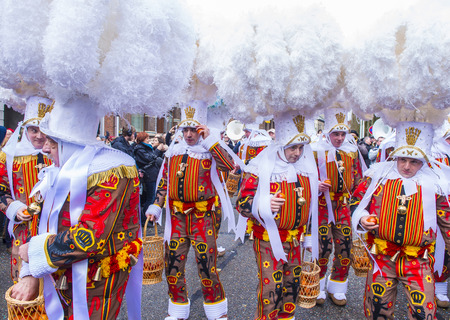 shrove: BINCHE , BELGIUM - FEB 28 : Participants in the Binche Carnival in Binche, Belgium on February 28 2017. The Binche carnival is included in a list of intangible heritage by UNESCO.