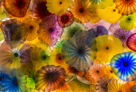 LAS VEGAS - NOV 08 : The Hand Blown Glass Flower Ceiling at the Bellagio Hotel on November 08 , 2016 in Las Vegas. It is comprised of 2,000 glass blossoms by glass sculptor Dale Chihuly