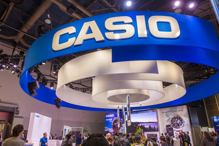 LAS VEGAS - JAN 08 : The Casio booth at the CES show held in Las Vegas on January 08 2017 , CES is the world's leading consumer-electronics show. Editorial