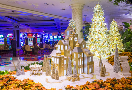 nv: LAS VEGAS - JAN 08 : The interior of Wynn Hotel and casino on January 08, 2017 in Las Vegas. The hotel has 2,716 rooms and opened in 2005.